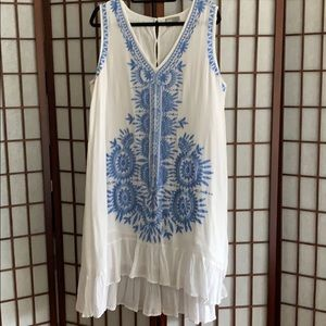 White cotton gauze dress with blue embroidery